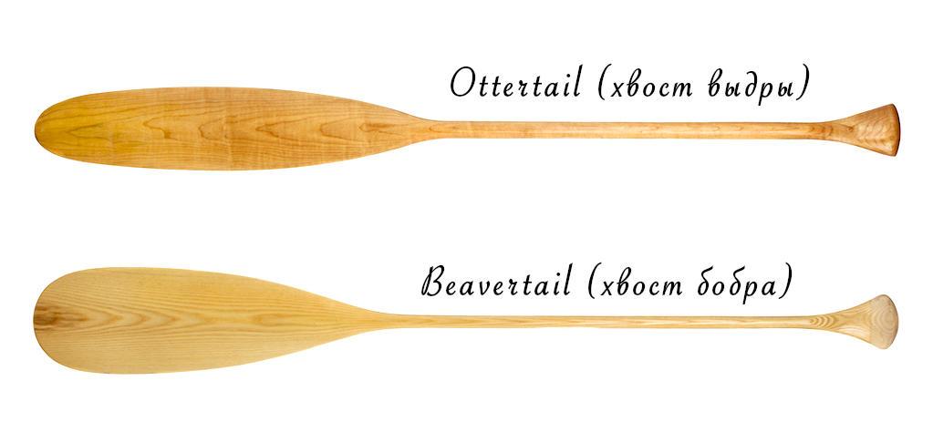 Основные формы каноэ-весла для рек и озёр